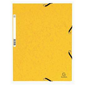 MAP KARTON MET 3 KLEP EN ELASTIEK geel