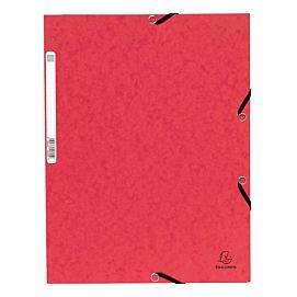 MAP KARTON MET 3 KLEP EN ELASTIEK rood