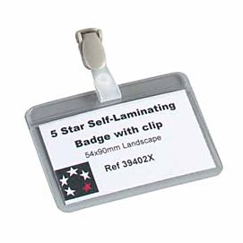BADGES MET COMBI-CLIP - 56 X 90 MM