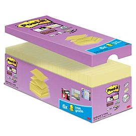 POST-IT NOTES - SUPER STICKY Z-NOTES - 76 X 76 MM - 14+6 GRATIS - GEEL