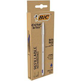 BALPEN - BIC CRISTAL - RE'NEW - BLAUW - Blister 1+2 vullingen