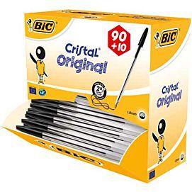BALPEN BIC cristal zwart  DOOS 90 + 10 GRATIS