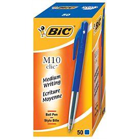 BALPEN BIC M10 click BLAUW  - doos/vijftig stuks