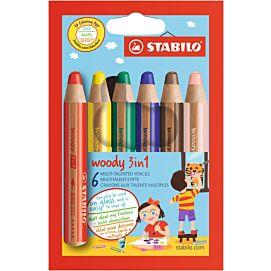 WASCO 3 IN 1 - STABILO WOODY - DOOS/6 + SLIJPER