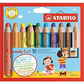 WASCO 3 IN 1 - STABILO WOODY - DOOS/10 + SLIJPER