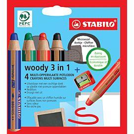 WASCO 3 IN 1 - STABILO WOODY - DOOS/4+SLIJPER+MICROVEZELDOEK