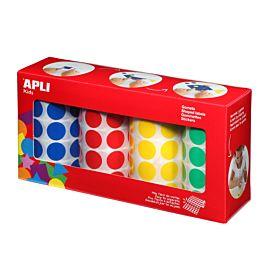 PLAKFIGUUR - APLI - ZELFKLEVEND - RONDJES 20 MM - Geel, blauw, rood, groen