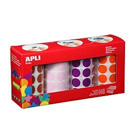 PLAKFIGUUR - APLI - ZELFKLEVEND - RONDJES 20 MM - Oranje, violet, roze & bruin