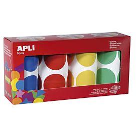 PLAKFIGUUR - APLI - ZELFKLEVEND - RONDJES 45 MM - blauw, rood, geel en groen