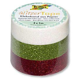 MASKING TAPE glitter wit-groen-rood