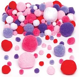 POMPOMS  roze, paars, rood & wit
