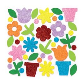 FOAM STICKERS GLITTERBLOEMEN
