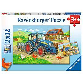 PUZZEL - Op de bouwplaats en boerderij - 2 x 12 stukjes
