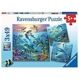 PUZZEL - Dieren in de oceaan - 3 x 49 stukjes