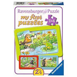 PUZZEL - MY FIRST PUZZLES - Kleine dieren in de tuin - 3 x 6 stukken